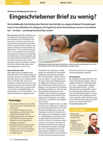 Stragü 01/2011, Dr. Schärmer – Achtung bei Kündigungsschreiben