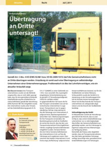 Stragü 07/2011, Dr. Schärmer – Gemeinschaftslizenz – Übertragung an Dritte untersagt!