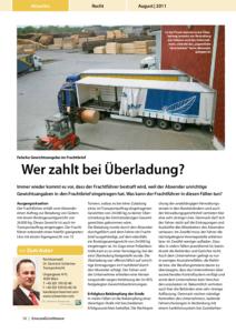 Stragü 08/2011, Dr. Schärmer – Wer zahlt bei Überladung?
