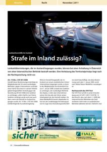 Stragü 11/2011, Dr. Schärmer – Lenkzeitverstöße im Ausland
