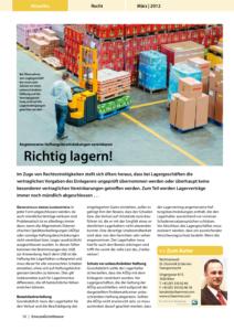 Stragü 03/2012, Dr. Schärmer – Haftungsbeschränkungen bei Lagergeschäften
