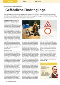 Stragü 06/2012, Dr. Schärmer – Fremde Fahrzeuge im Baustellenbereich