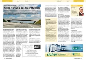 Stragü 05/2013, Dr. Schärmer – Unsachgemäße Verladung und Verstauung
