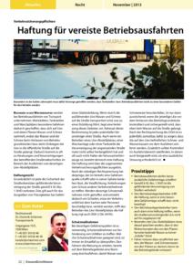 Stragü 11/2013, Dr. Schärmer – Haftung für vereiste Betriebsausfahrten