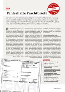 Stragü 12/2014, Dr. Schärmer – Fehlerhafte Frachtbriefe