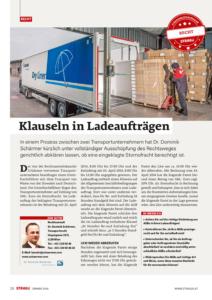 Stragü 01/2016, Dr. Schärmer – Klauseln in Ladeaufträgen