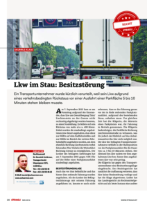 Stragü 05/2016, Dr. Schärmer – LKW im Stau: Besitzstörung