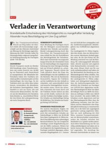 Stragü 10/2016, Dr. Schärmer – Verlader in Verantwortung