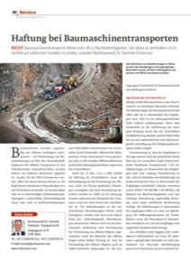 Baufahrzeuge Spezial 2017, Dr. Schärmer – Haftung bei Baumaschinentransporten