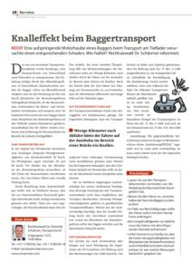 Baufahrzeuge Spezial 2018, Dr. Schärmer – Knalleffekt beim Baggertransport