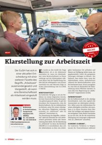 Stragü 03/2018, Dr. Schärmer – Klarstellung zur Arbeitszeit