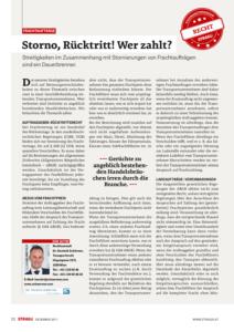 Stragü 12/2017, Dr. Schärmer – Storno, Rücktritt – wer zahlt?