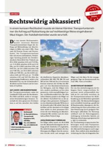 Stragü 10/2018, Dr. Schärmer – LKW-Maut: rechtswidrig abkassiert