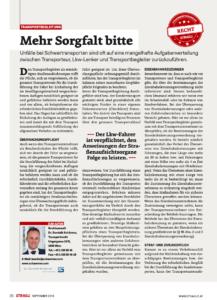 Stragü 09/2018, Dr. Schärmer – Transportbegleitung: Mehr Sorgfalt bitte
