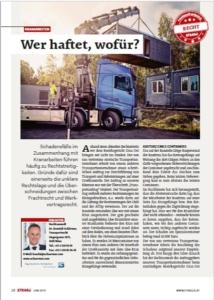 Stragü 06/2019, Dr. Schärmer – Kranarbeiten – wer haftet, wofür?