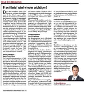 Transporteur 05/20, A. Miskovez – Frachtbrief wird wieder wichtiger!