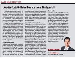 Transporteur 07/20, A. Miskovez – LKW-Werkstatt-Betreiber vor dem Strafgericht – Ende mit Freispruch!