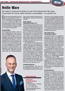 Transporteur 09/20, Dr. Schärmer – Heiße Ware im Sommer! – Haftung bei temperaturgeführten Transporten