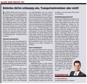 Transporteur 11/20, A.Miskovez – Behörden dürfen schlampig sein, Transportunternehmen aber nicht