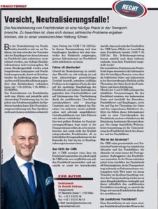 Transporteur 01/21, Dr. Schärmer – Vorsicht – Neutralisierungsfalle