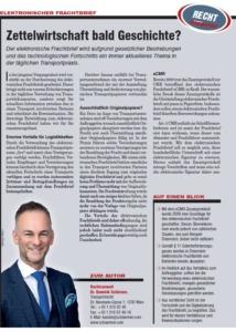 Transporteur 07/21 – Dr. Schärmer – Elektronischer Frachtbrief – Zettelwirtschaft bald Geschichte?